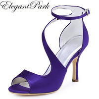 Woman Sandals High Heel Purple Peep Toe Cross Strap Bridesmaids Pumps Satin Evening Prom Wedding Bridal