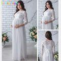 Летнее платье для беременных, сексуальное вечернее платье для кормящих женщин, кружевное длинное платье для беременных, большие размеры, Од...