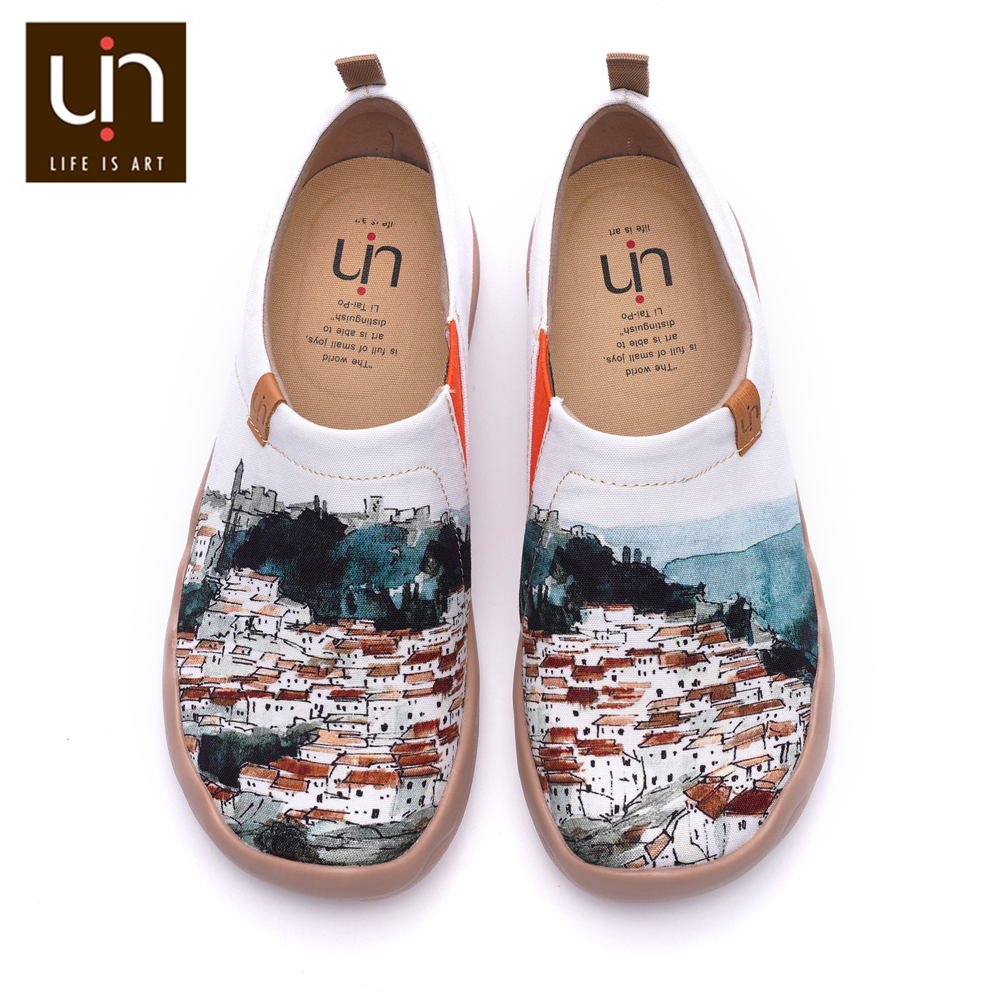 UIN A Red Vival City Art Painted Canvas Shoes for Woman Comfort Slip-on Loafers Casual Sneaker Flat Ladies Fashion Walking Shoes