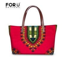 FORUDESIGNS Mulheres Top-handle Bags Tradicional Africano Impresso Senhoras Bolsas Casuais Grande bolsa de Ombro Bolsa Festa Bolsa Feminina