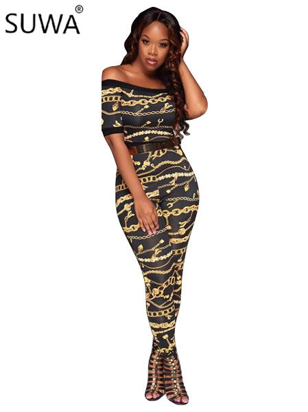 Women Jumpsuits Sexy Chain Print Club Rompers Womens Jumpsuit Autumn Overalls Skinny One Piece Pants H9292