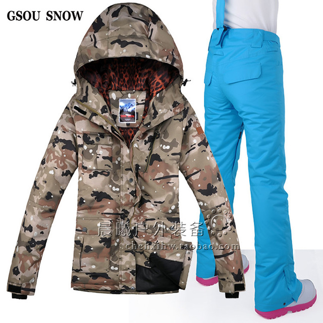 54d83d3554c Gsou Traje ropa de camuflaje de nieve súper mujer para esquí de 686wq7a