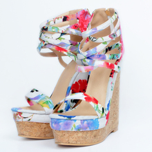 Women Sandals  New Fashion High Heels Wedges Trife for Party Wedding Shoes Flower Print Glasiator xd118