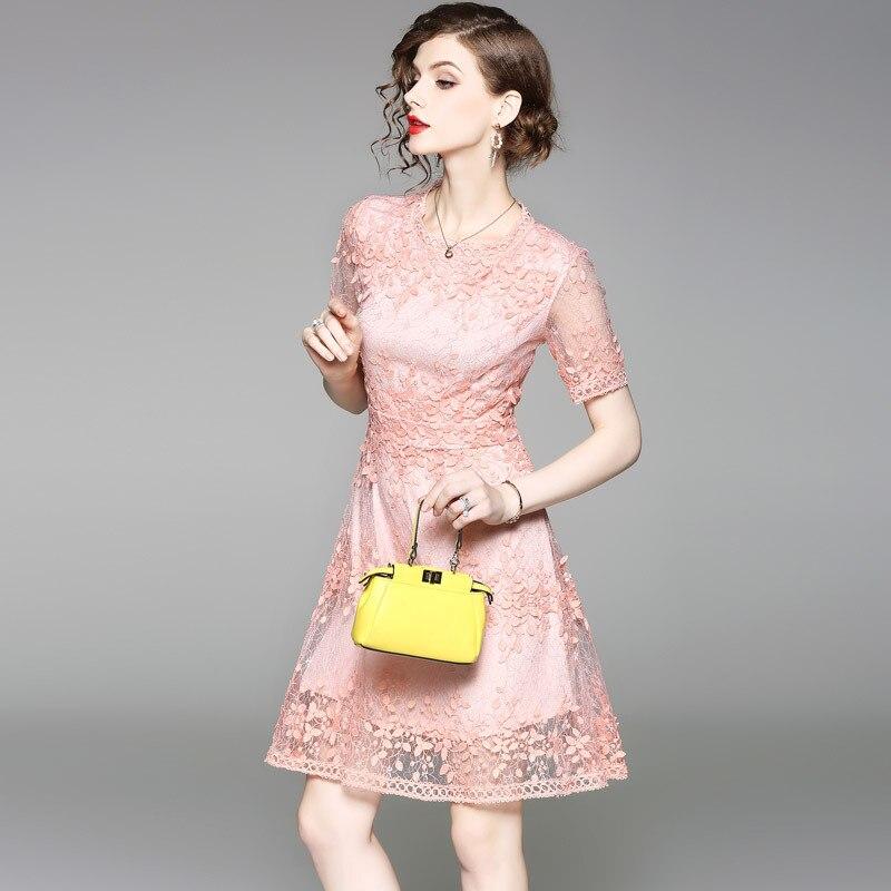 Mignon Mini Qualité Genou 2018 Dessus Du Femmes Pu Haute Ciel rose Court De Femelle Automne Robe Dentelle Broderie Jolie Manches Mince Brève w6SUqU