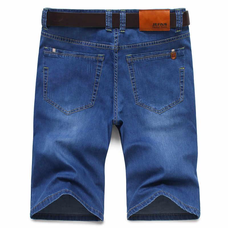 Marka mężczyzna lato, rozciągliwy, cienki Denim Jeans męskie krótkie męskie niebieski czarny spodenki dżinsowe spodnie Plus duży rozmiar 28-40 42 44 46