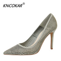 KNCOKAR New Style For Spring Pointy Fashion Heels Shallow Cut Thin Suede Drill Sexy Women's Shoes Size34 40 d097