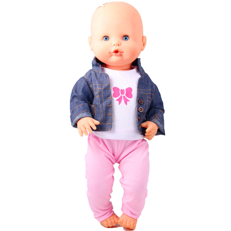 Doll Clothes Fit 41 Cm Nenuco Doll Nenuco Y Su Hermanita 3IN1 Jean Coat White T-shirt Pink Pant For 16inch Nenuco Doll Outfits