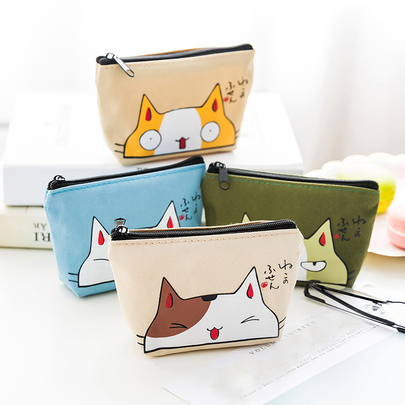 Cat Coin Purses Women Wallets Small Mini Cute Cartoon Animal Card Holder Key Bag Money Bags for Girls Ladies Purse Kids Children cute girl hasp small wallets women coin purses female coin bag lady cotton cloth pouch kids money mini bag children change purse