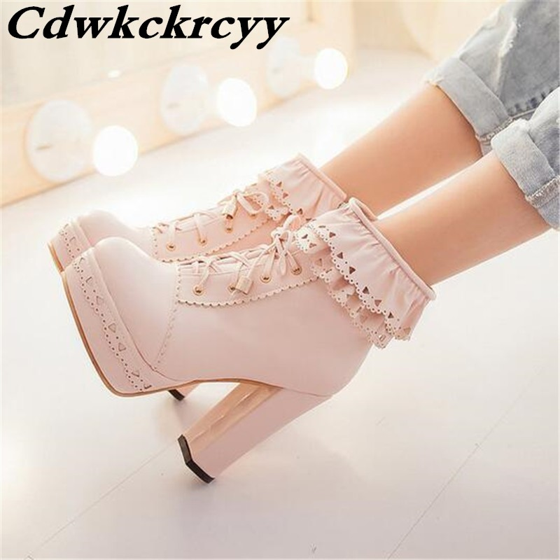 Promotion Sweet Lolita Ankle Boots The Side Of The Lotus Leaf  Hollow Out Boots Waterproof  High-heeled Woman Short Boots 34-43