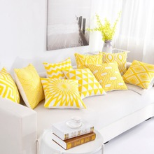 Nordic Style Thick Cushion Cover Yellow Embroidery Geometric Pillow 45cm*45cm Home Office Car pillows