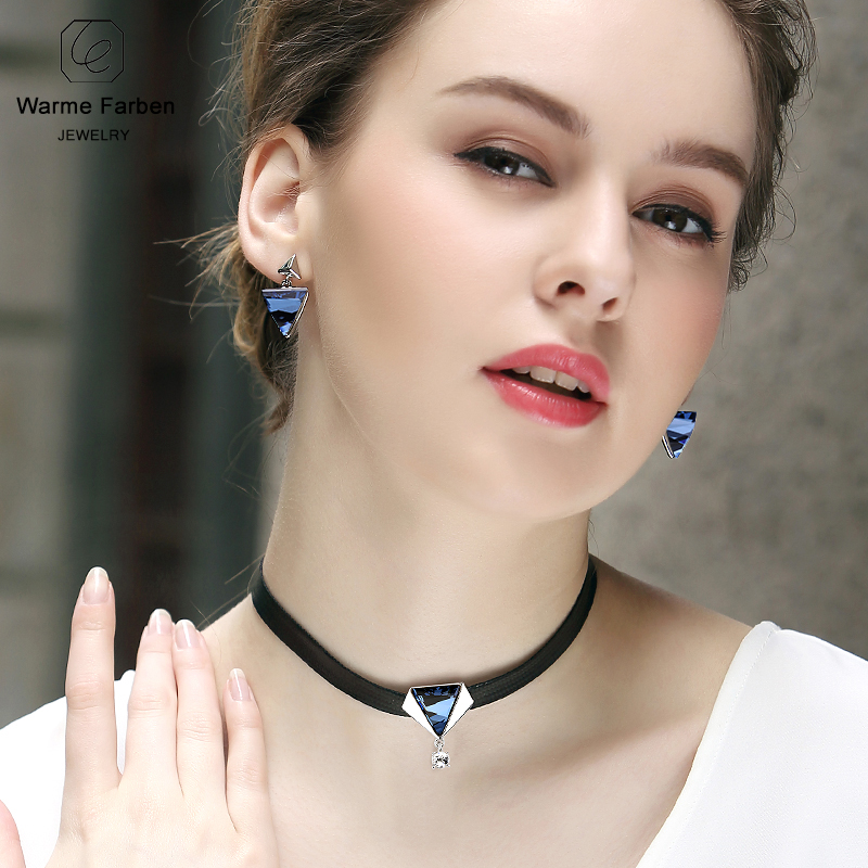 WARME FARBEN Crystal from Swarovski Women Necklace Baroque Black Rope Chain  Clavicle Choker Necklace on the Neck Sexy Collares 10dc10fc4fc4