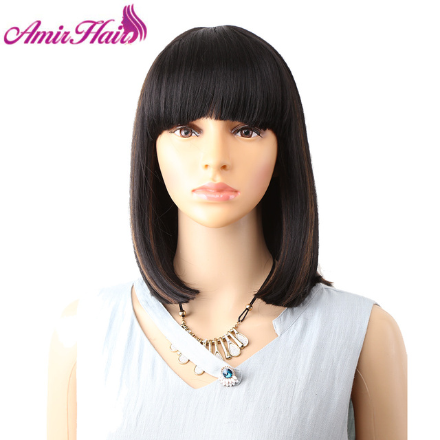 Amir Straight Black Synthetic Wigs With Bangs For Women Medium Length Hair Bob Wig Heat Resistant bobo Hairstyle Cosplay wigs 1