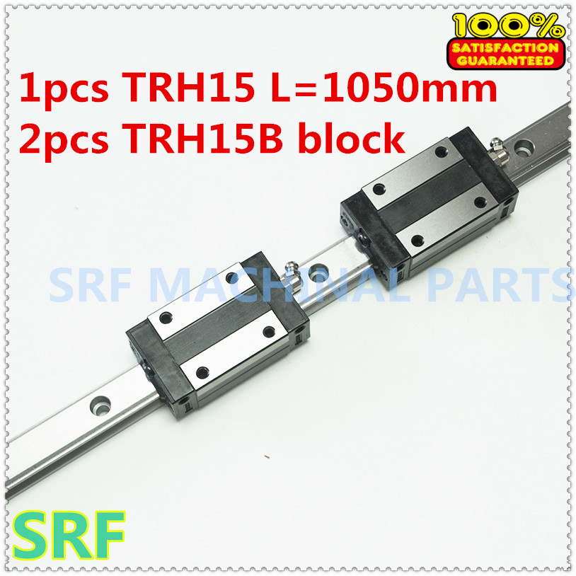 1pcs 15mm width 1050mm TRH15 Linear Guide Rail + 2pcs TRH15B Block Carriage Linear motion guide way CNC
