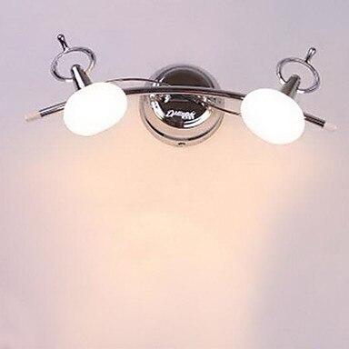 ФОТО Bathroom Wall Lamp, 2 Lights, Modern Stainless Steel White Chrome Ac,mirror light