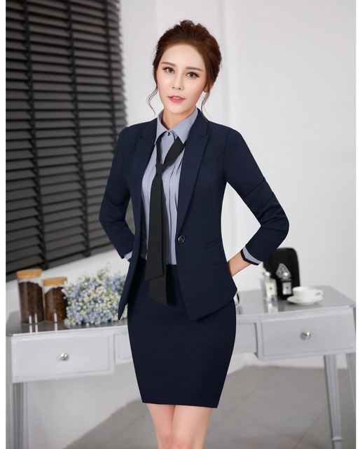 10ca6760e Formal hembra elegante Faldas Trajes para las mujeres Trabajo Trajes con  blazer y chaqueta Sets señoras