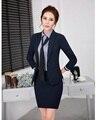 Saias Ternos para Mulheres Trabalham Ternos Desgaste Formal Fêmea Elegante com Conjuntos de Blazer e Jaqueta Senhoras Projetos Uniformes Escritório OL estilo