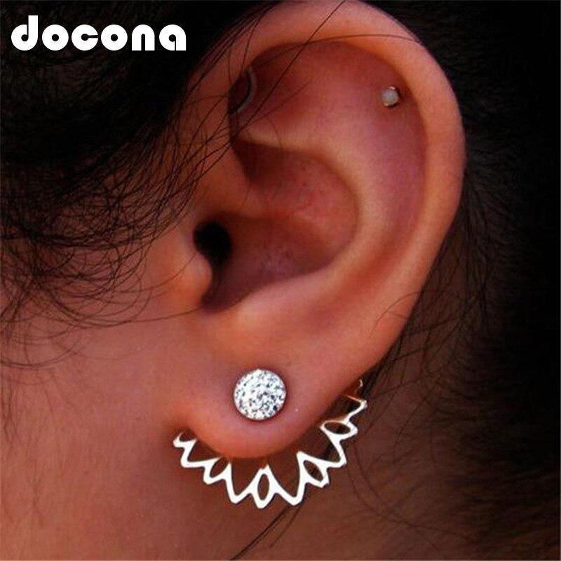 Docona Sparking Crystal Jacket Flower Stud Earrings For Women Fashion Jewelry Double Sided Gold Silver Alloy Earrings  5169