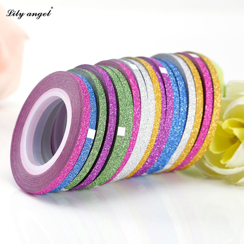 Gold Striping Tape Nail Art: Lily Angel 10 Rolls Nail Art Glitter Striping Tape Line