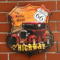 Vintage Route 66 Moto Car Metal Accedi Decor Piastre di latta di Metallo segni, arte, artigianato dipinto Bar Pub a Casa Decorazione Della Parete di metallo arte