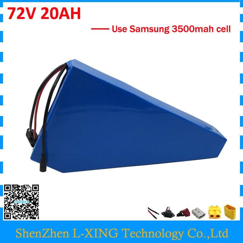 Free customs tax 72V 20AH battery pack 72V 21AH triangle battery 72 V bicycle battery use Samsung 3500mah cell 40A BMS free customs taxes super power 1000w 48v li ion battery pack with 30a bms 48v 15ah lithium battery pack for panasonic cell