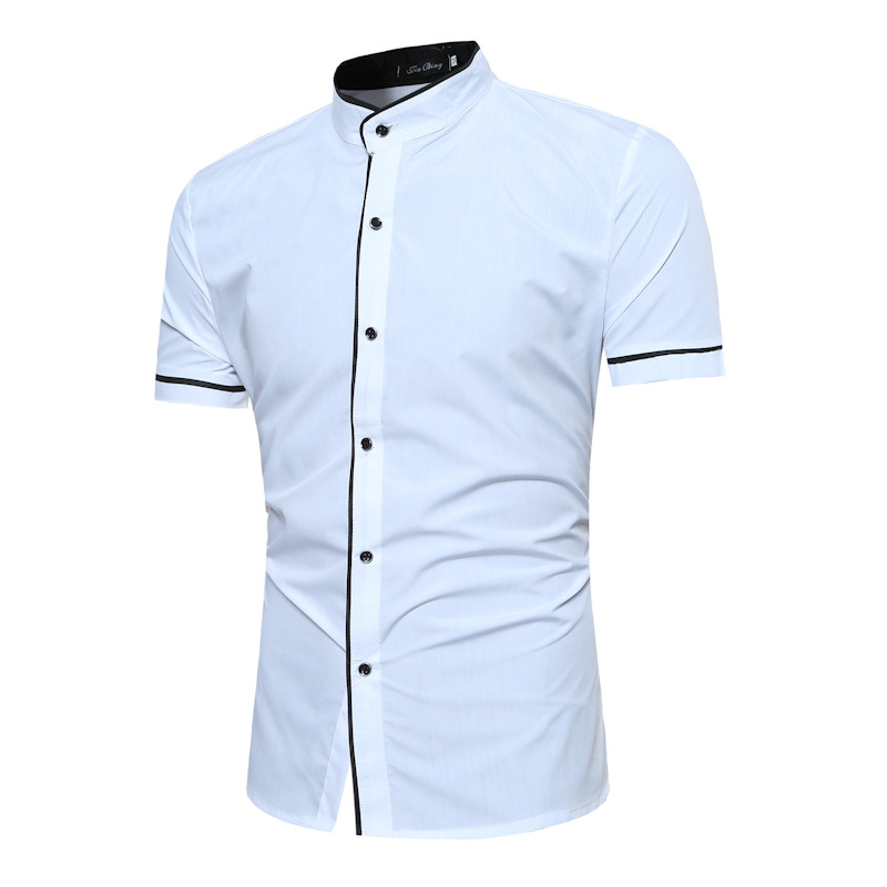 Stand Collar Shirt Men 2018 Summer Short Sleeve Mens Dress Shirts with Black Edge Business Solid Color Chemise Homme Camisa XXL ...