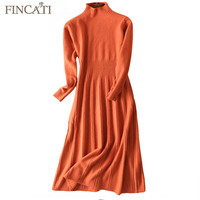 Sweater Dress 2017 Autumn Winter England Style High Grade 100 Pure Cashmere Fluffy Striped Knit Pleated