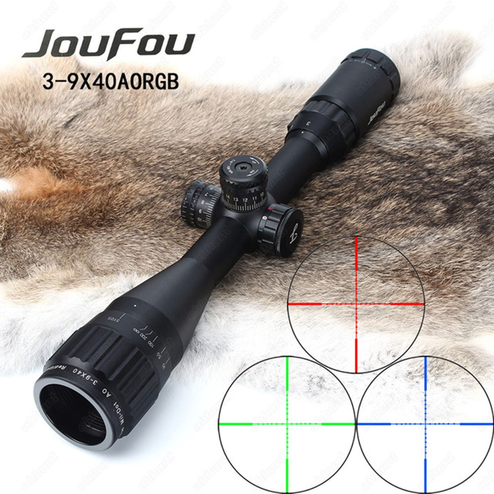 JouFou 3-9x40 AOE Hunting Riflescope Mil Dot RGB Illuminated Tactical Optics Sight Full Size Wire Reticle Rifle Scope with Rings kandar 4 16x40 aoe mil dot reticle riflescope locking resetting full size hunting rifle scope tactical optical sight