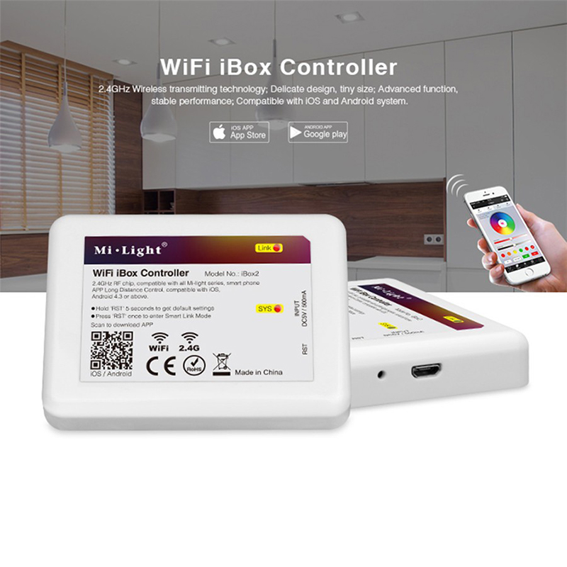 Milight 2.4G LED WiFi iBox Remote Controller Compatible with Milight led bulbs support IOS and Android 2 4g milight ibox1 hub rf remote wifi ler with rgb light wireless control for milight led bulbs support ios android app dc5v