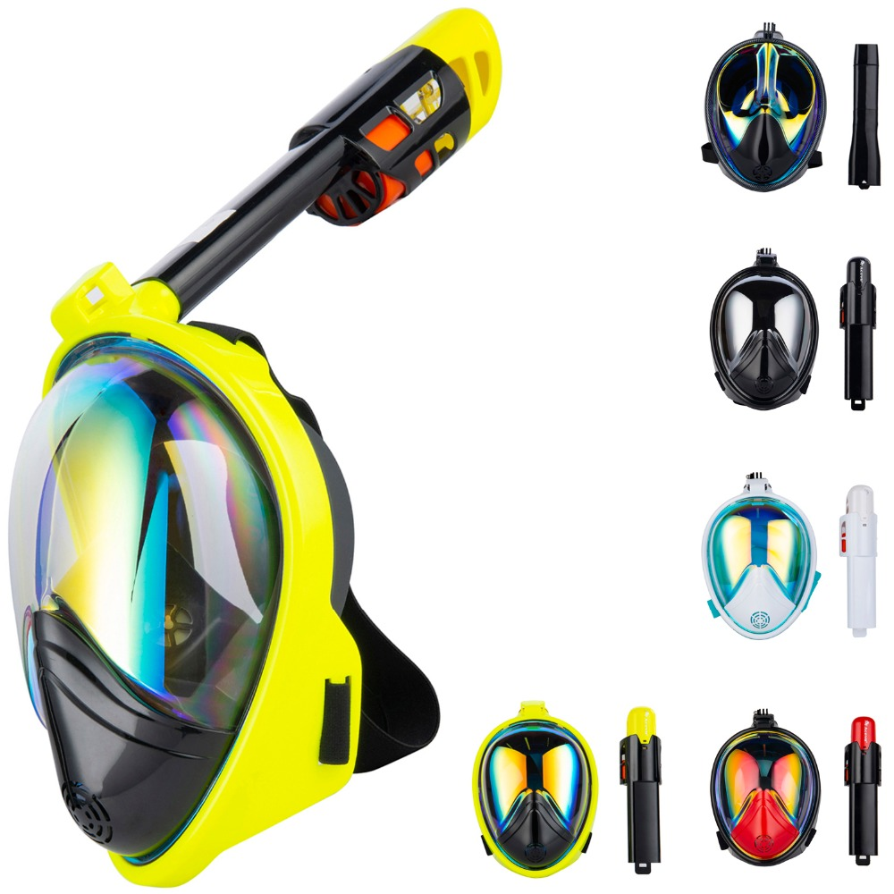 Cheap Hot Diving Mask Scuba Mask Underwater Anti Fog Full Face Snorkeling Mask Women Men Swimming Snorkel Diving Equipment anti fog full face snorkeling mask diving snorkel 180 degree vision for gopro free breathing dive gear tube swimming diving mask