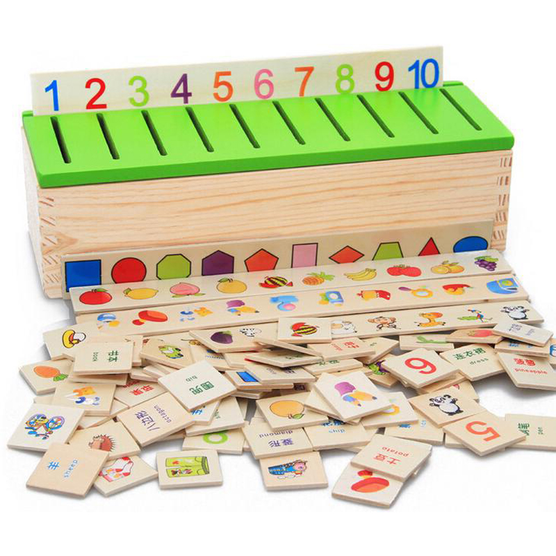 Gratis verzending Montessori Matematica Knowledge Classification Box Montessori Materialen Learn-checkers Toys voor kinderen Wood Box