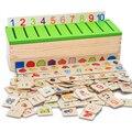 Free Shipping Montessori Matematica Knowledge Classification Box Montessori Materials Learn-checkers Toys for Children Wood Box