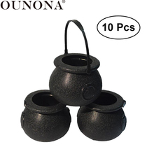 OUNONA 10pcs 5x7cm Halloween Candy Bucket Witch's Cauldron Trick or Treat Candy Pail Holder Halloween Decoration Bucket