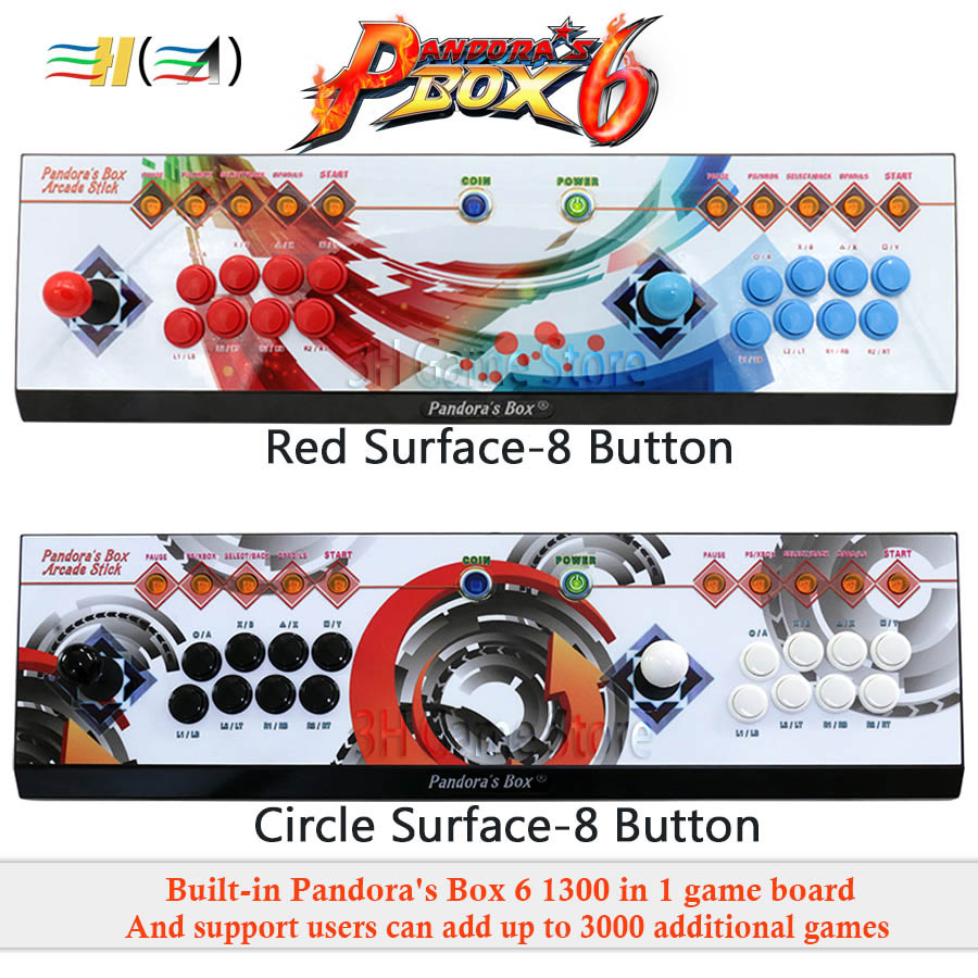 Pandora's Box 6 8 knop arcade console 1300 in 1 kan toevoegen 3000 games 2 spelers HDMI VGA usb joystick voor pc video game ps3 TV - 4