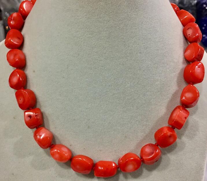 Stunning handmade orange coral set large irregular beads