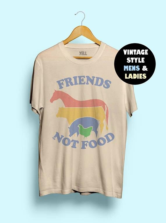 Hillbilly Freunde Nicht Lebensmittel Baumwolle T-shirt Vintage T-shirt T Geschenk für Vegan Hemd Vegetarisch Natürliche Nette Hippie 80 s 90 s Tops