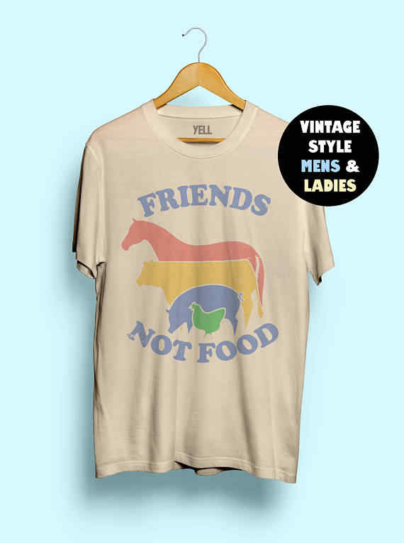 c5f71d68 Hillbilly Friends Not Food Cotton T-shirt Vintage Tshirt Tee Gift for Vegan  Shirt Vegetarian