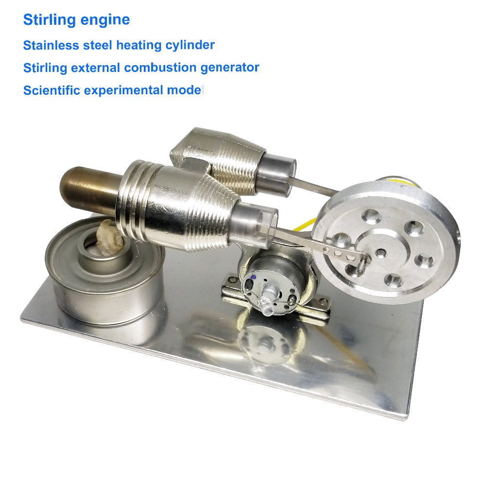 Modèle expérimental scientifique de générateur de combustion externe Sterling de cylindre de chauffage d'acier inoxydable de moteur de Stirling
