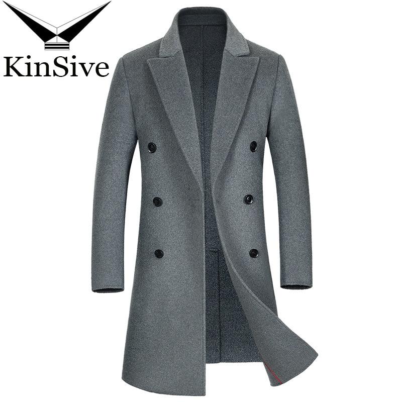 Luxury Trench Coat Men's Double Breast Long Wool Coat Winter Extra Long Business Causal Woolen Outwear Male Cashmere Overcoat