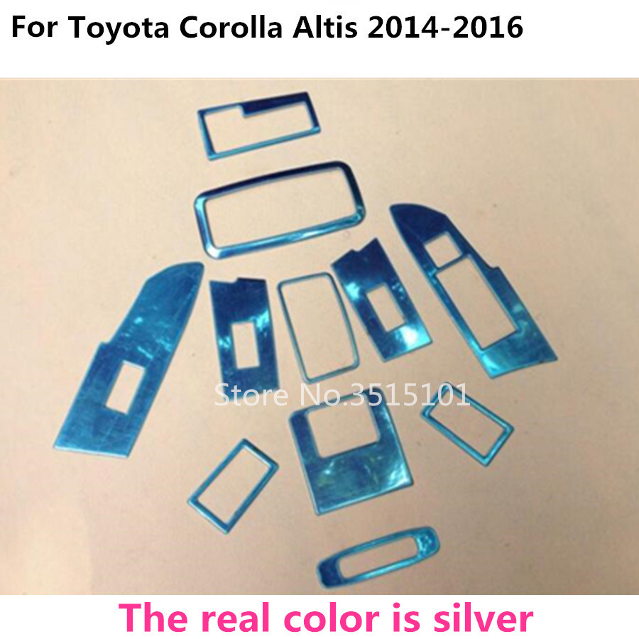 Car Glass light switch read outlet vent inner trim Cab storage box Sunroof handle 11pcs For toyota Corolla Altis 2014 2015 2016