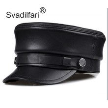 Svadilfari, бейсболка из натуральной кожи, шапка, женская зимняя теплая, новинка, брендовая, мужская, из коровьей кожи, кожаная, Newsboy, армейская Черная кепка, s шапки