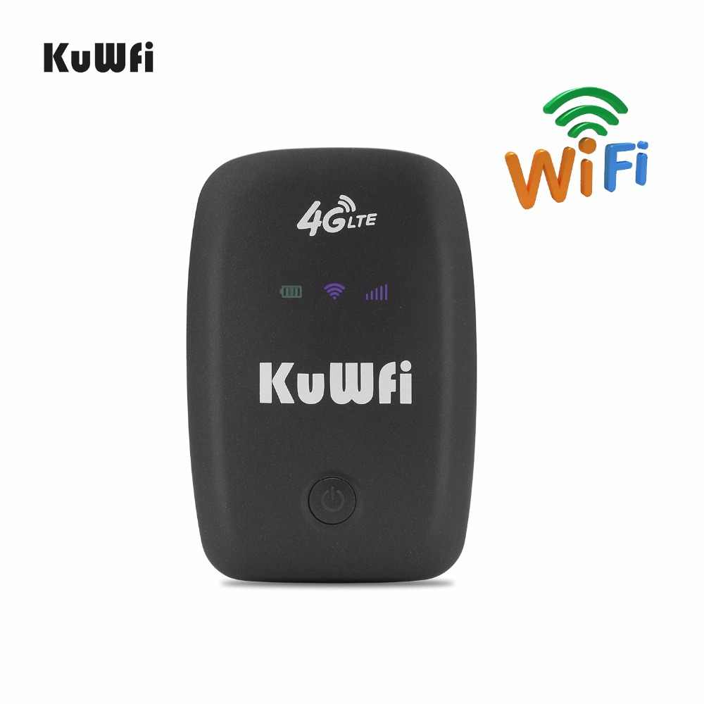 KuWFi 4G مودم راوتر لاسلكي LTE 3G/4G موجه ببطاقة Sim واي فاي المحمول هوت سبوت مقفلة المحمولة واي فاي مع فتحة للبطاقات Sim تصل إلى 10 مستخدمين