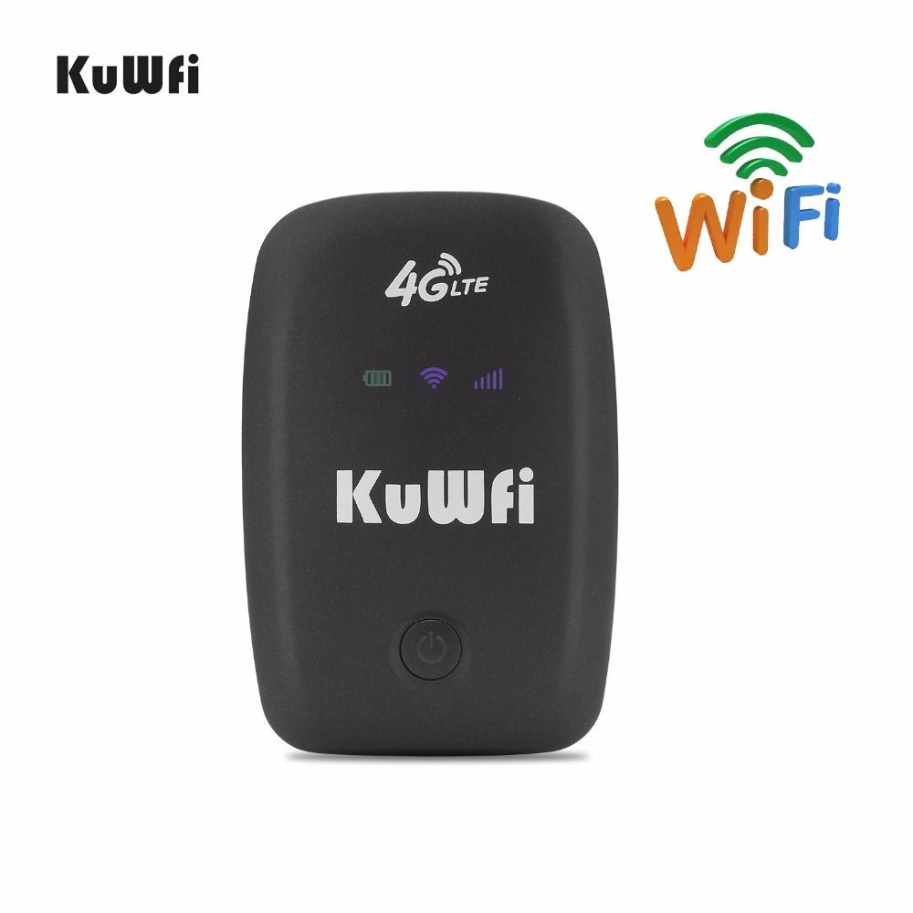 KuWFi LTE Wifi Routeur 3g 4g Hotspot Débloqué Mobile Portable Wifi Routeur de Poche Sans Fil De Voiture Mifi Modem Avec sim Fente Pour Carte