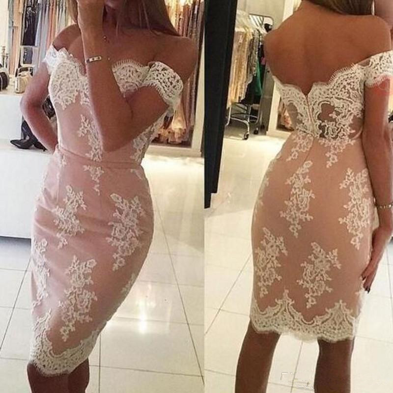 Peach 2019   Cocktail     Dresses   Sheath Off The Shoulder Appliques Knee Length Elegant Party Homecoming   Dresses