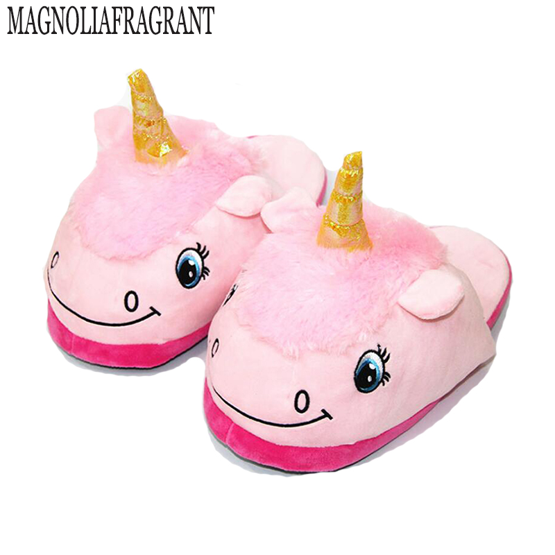 Plush Unicorn Cotton Home Slippers for White Despicable Winter Warm Chausson Licorne Indoor Christmas Slippers Fit Size36-41 unicorn slippers cotton winter indoor warm solid flat furry animal fluffy fenty anime shoes fuzzy house licorne home slippers