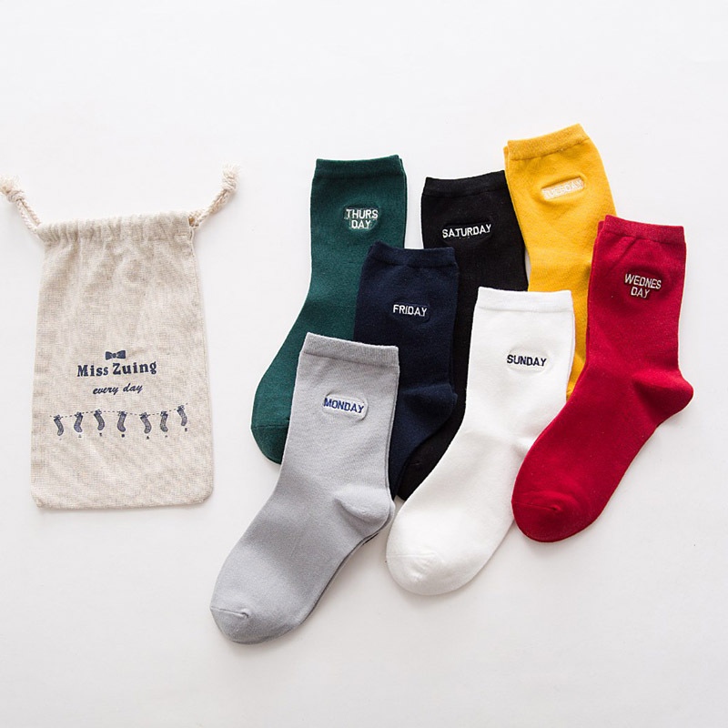 women socks autumn winter 7 pairs long socks girls cotton casual solid color novelty women fashion week winter socks women