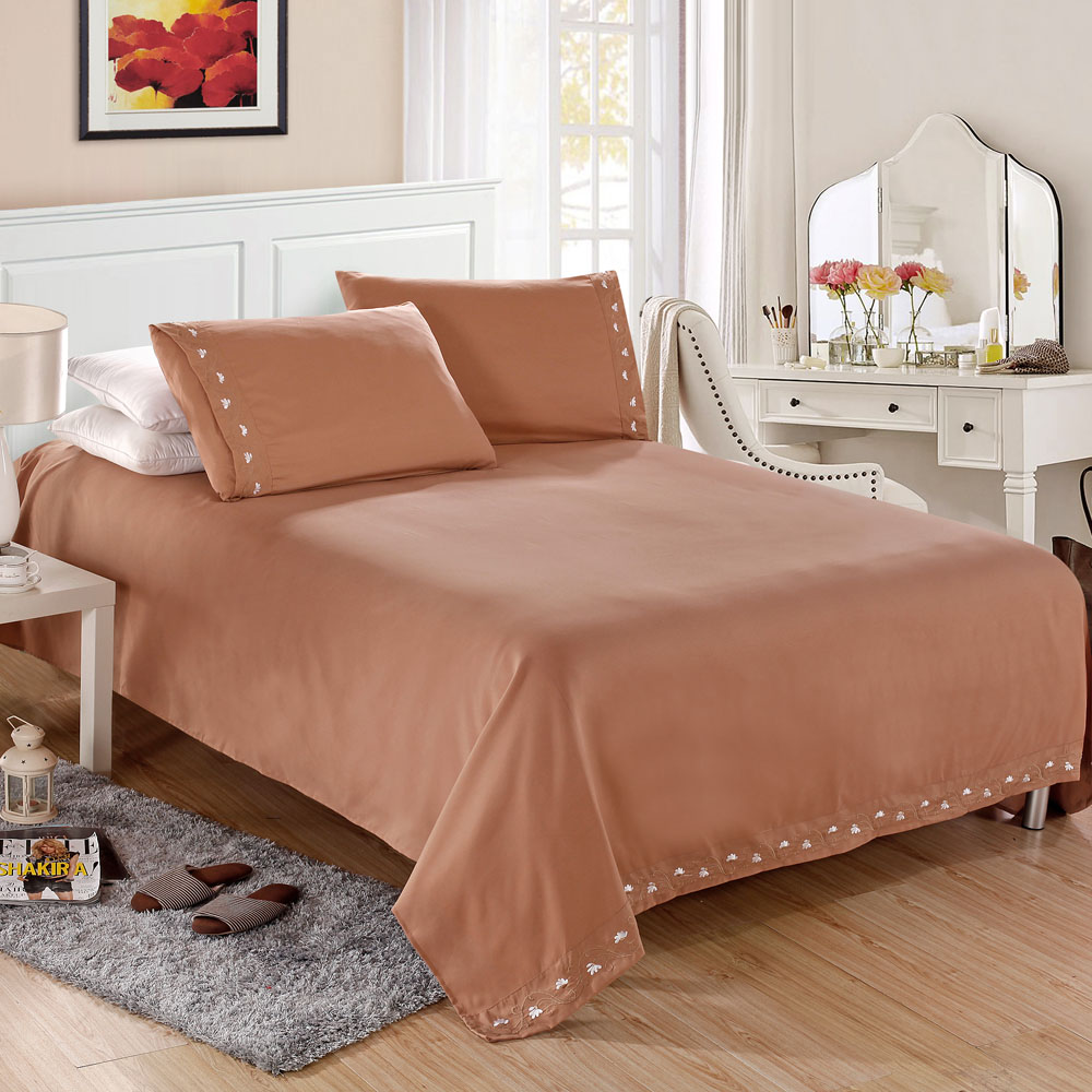 Home Textile Satin Silk Bed Sheet Set Solid Bedding Set 4