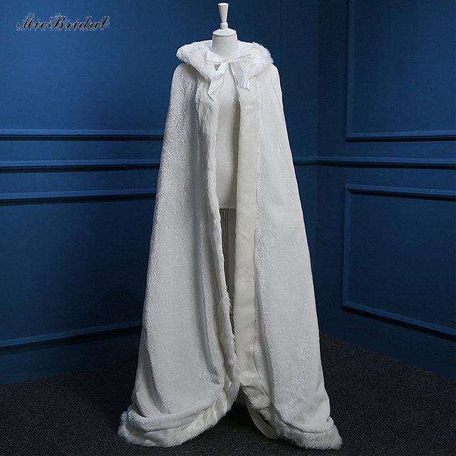 Mulheres até o Chão Branco/Marinho Guarnição da Pele Do Falso do Inverno Do Natal Capa De Noiva Deslumbrante Casamento Mantos Encapuzados Longo Wraps Partido jaqueta