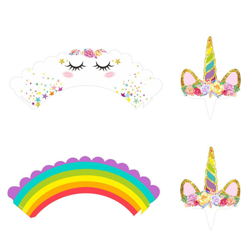Birthday Unicorn Party Cupcake Wrappers & Topper 24pcs ...