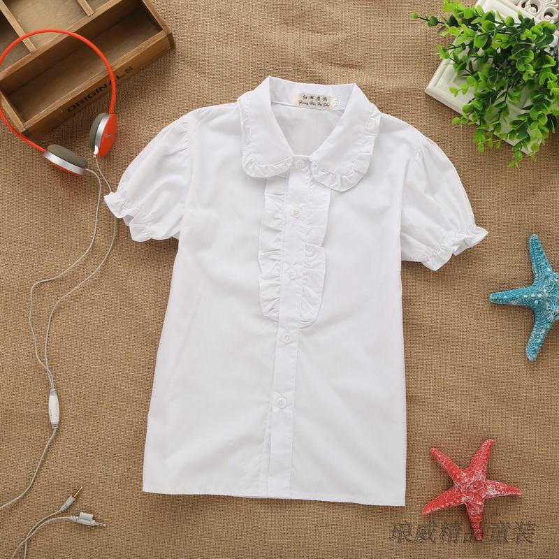 2016 New Arrival Girls Summer Style Ruffled Collar Shirts Kids Lace Princess Cotton Blouses Girls Korean Style Clothes , LC333
