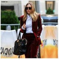 Цвет красного вина Для женщин Бизнес костюмы Костюмы из 2 предметов Тонкий дамы строгие брюки костюм офис Единый дизайн женские брюки костю